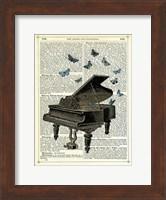 Framed Piano & Butterflies