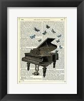Piano & Butterflies Framed Print