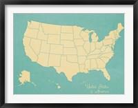 Framed USA Map (blue)