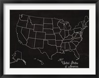 Framed USA Map (chalk)