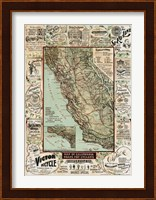 Framed Map of California Roads for Cyclers, 1896