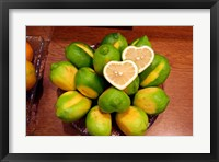 Framed Display of fresh heart shaped limes, Tokyo, Japan