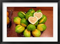 Framed Display of fresh heart shaped limes, Tokyo, Japan