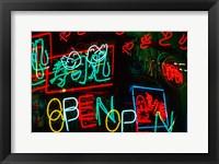 Framed Neon Signs For Sale in Dotombori District Market, Osaka, Japan