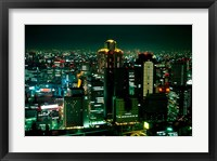 Framed Aerial View of Downtown Skyline, Osaka, Japan
