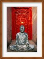 Framed Buddha at Ornate Red Door, Ubud, Bali, Indonesia