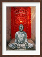Framed Buddha at Ornate Red Door, Ubud, Bali, Indonesia