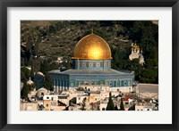 Framed elevated city view, Jerusalem, Israel