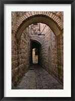 Framed Arch of Jerusalem Stone and Narrow Lane, Israel