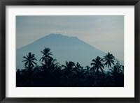 Framed Bali, Volcano Gunung Agung, palm trees