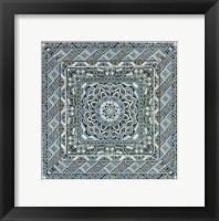 Framed Blue Silver Tile IV