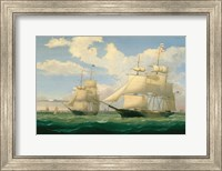 """Framed Ships """"Winged Arrow"""" and """"Southern Cross"""" in Boston Harbor, 1853"""
