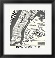 Framed New York Map