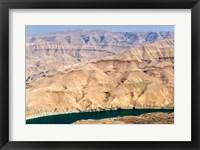 Framed Wadi Al Mujib Dam and lake, Jordan