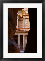 Framed Jordan, Petra, Treasury (Al-Khazneh), Siq, tomb