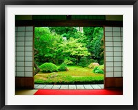 Framed Traditional Architecture and Zen Garden, Kyoto, Japan