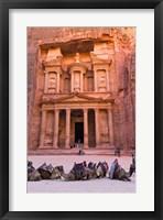 Framed Camels at the Facade of Treasury (Al Khazneh), Petra, Jordan