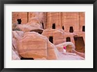 Framed Tourist with Uneishu Tomb, Petra, Jordan