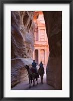Framed Tourists in Al-Siq leading to Facade of Treasury (Al Khazneh), Petra, Jordan