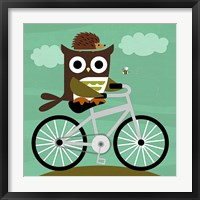 Framed Owl and Hedgehog on Bicycle