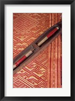 Framed Weaving Shuttle with Colorful Fabric, Luang Prabang, Laos