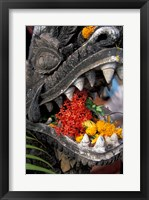 Framed Flower Offerings in Stone Dragon's Mouth, Laos