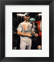 Framed Madison Bumgarner with the MVP Trophy Game 7 of the 2014 World Series