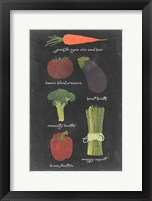 Framed Blackboard Veggies I