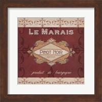 Framed Burgundy Wine Labels I
