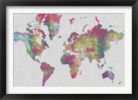 Framed Impasto Map of the World