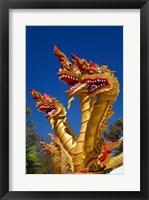 Framed Trio of dragon heads, Wat Phra That Doi Suthep Rajvoravihara, Chiang Mai, Thailand