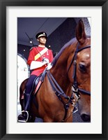 Framed Malaysia, Kuala Lumpur: a mounted guard stands in front of the Royal Palace