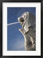 Framed Singapore. Merlion statue in the Merlion Park