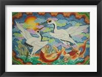 Framed Taiwan, Peimen, Nankunshen Temple, Ceiling mural of cranes and catfish