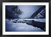 Framed Small river in the misty, snowy mountains of Ritsa Nature Reserve