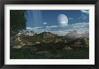 Framed Artist's concept of Mayan like ruins on a ringed planet
