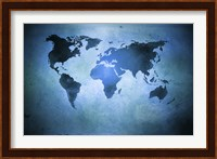 Framed Aged world map on dirty paper