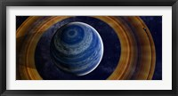 Framed ringed blue gas giant with shepherd moon in the rings