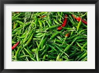 Framed Maeklong railroad tracks market, Thai peppers, Bangkok, Thailand