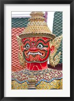 Framed Buddhist mythology yaksa, Temple of the Emerald Buddha, Bangkok, Thailand