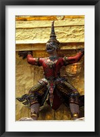 Framed Thai Guardians and Detail of the Grand Palace, Bangkok, Thailand