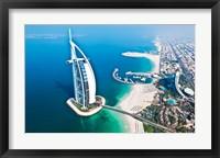 Framed Aerial view of the Burj Al Arab, Dubai, United Arab Emirates