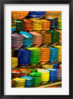 Framed Bowls and Plates on Display, For Sale at Vendors Booth, Spice Market, Istanbul, Turkey