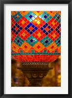 Framed Stained Glass Lamp Vendor in Spice Market, Istanbul, Turkey