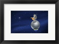 Framed Cartoon Astronaut in Outer Space