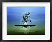 Framed Flying Tree ( digitally generated - blue)