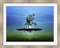 Framed Flying Tree ( digitally generated - blue)