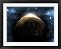 Framed Sunrise Over a Planet (digitally generated)
