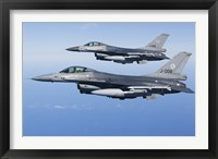 Framed Two Dutch F-16AMs Over the Mediterranean Sea (side view)