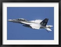 Framed F/A-18F Super Hornet in flight over the Arabian Sea